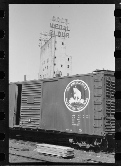 Freight car and flour mill, Minneapolis, Minnesota