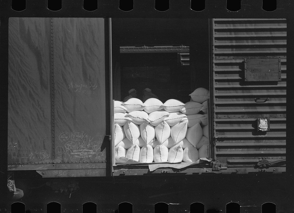 Freight car loaded with sacks of flour, Pillsbury mills, Minneapolis, Minnesota