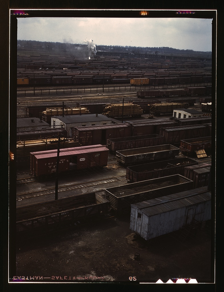 Freight cars in the Chicago and Northwestern Railroad classification yard(?), Chicago, Ill. General view of Proviso yard
