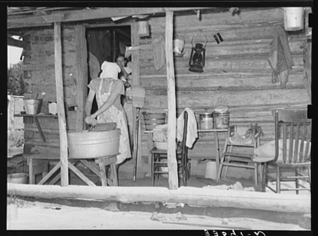 Front of house of tenant farmer living near Sallisaw, Oklahoma