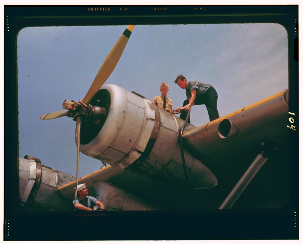 Fueling a plane at the Naval Air Base, Corpus Christi, Texas