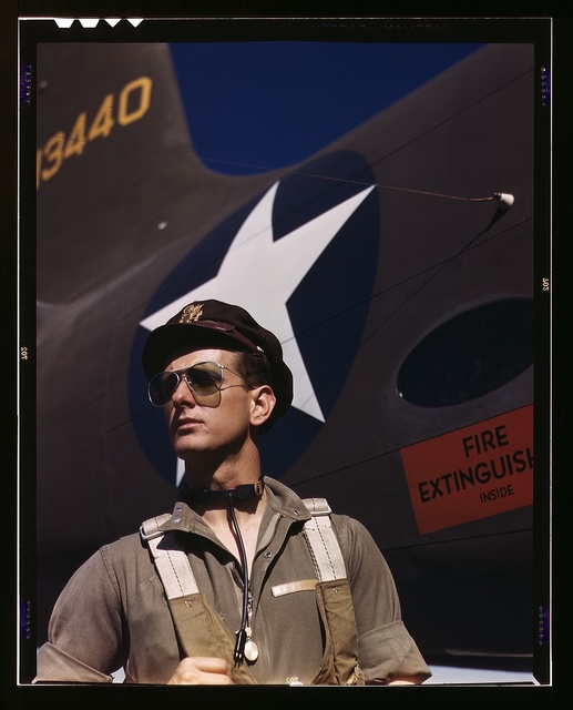 F.W. Hunter, Army test pilot, Douglas Aircraft Company plant at Long Beach, Calif.