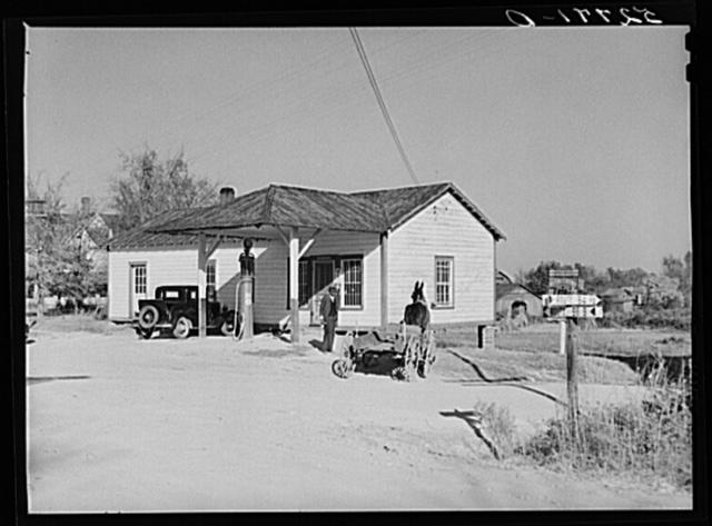 Gas station and general store at crossroads at Wakefield. Wake County, North Carolina