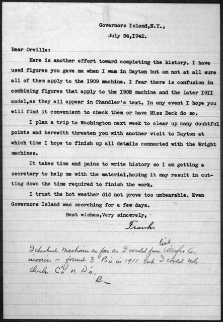 General Correspondence:  Lahm, Frank P., 1939-1942