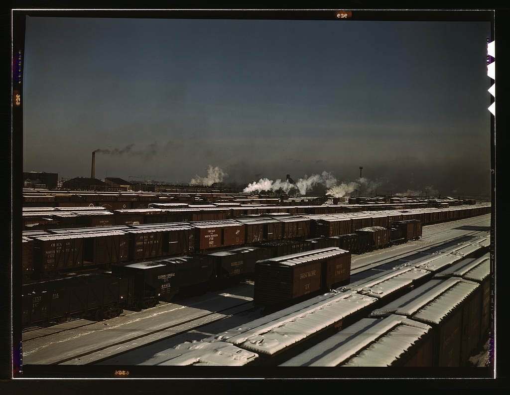 General view of a classification yard at C & NW RR's Proviso (?) yard, Chicago, Ill.