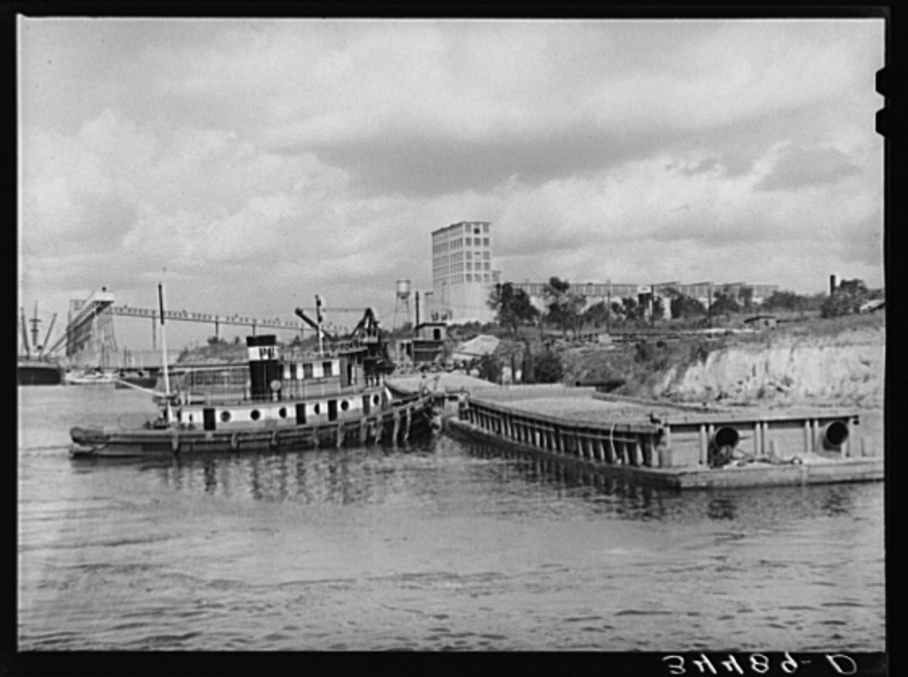 General view of flour mill and docks. Port of Houston, Texas
