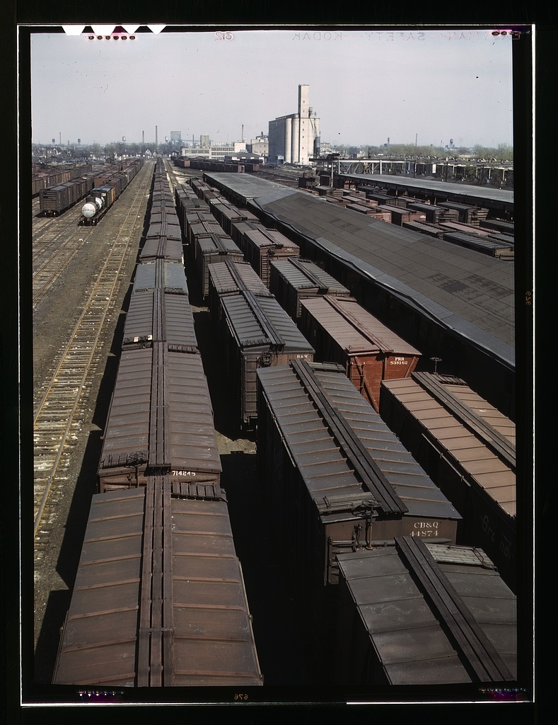 General view of part of the Galewood yard of the Chicago, Milwaukee, St. Paul and Pacific Railroad, Chicago, Ill.