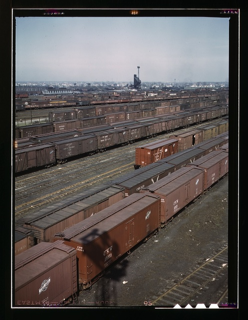 General view of part of the Proviso yard of the Chicago and Northwestern railroad, Chicago, Ill. In the background is the coal chute and roundhouse