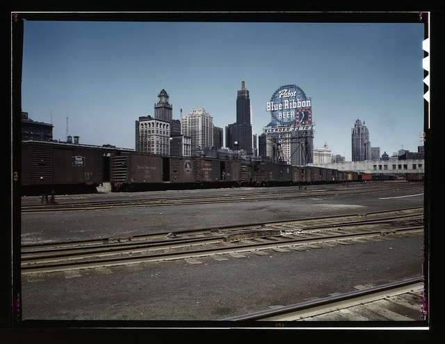 General view of part of the South Water Street freight depot of the Illinois Central Railroad, Chicago, Ill.