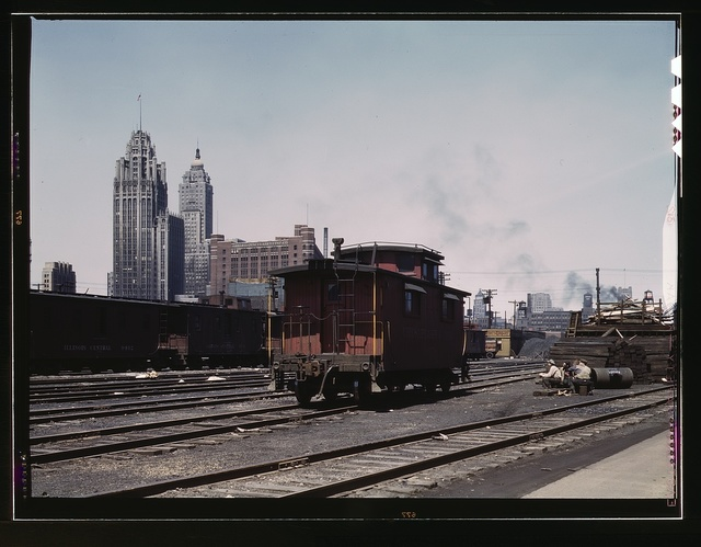 General view of part of the south Water street freight depot of the Illinois Central Railroad, Chicago, Ill. A C and O R.R. caboose. the C and O is one of the railroads that lease terminal facilities from the I.C.R.R
