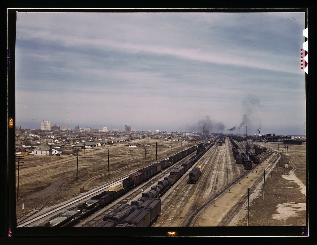 General view of the city and the Atchison, Topeka, and Santa Fe Railroad, Amarillo, Texas. Santa Fe R.R. trip