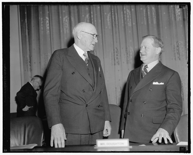 General welfare movement concludes testimony. [Washington] D.C., Feb. 7. Chairman of the House Ways and Means Committee, Robert L. Doughton, and Rep. Charles [...] Washington, talking together before today's [hearing on] old age pension plans. Leavy concluded [arguments?] for the General Welfare Federation's plan of old [...] assistance, after several days of discussion before [... ] Committee, 2-7-39