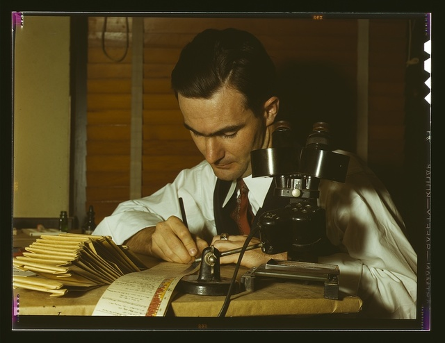 Geologist examining cuttings from wildcat well, Amarillo, Texas