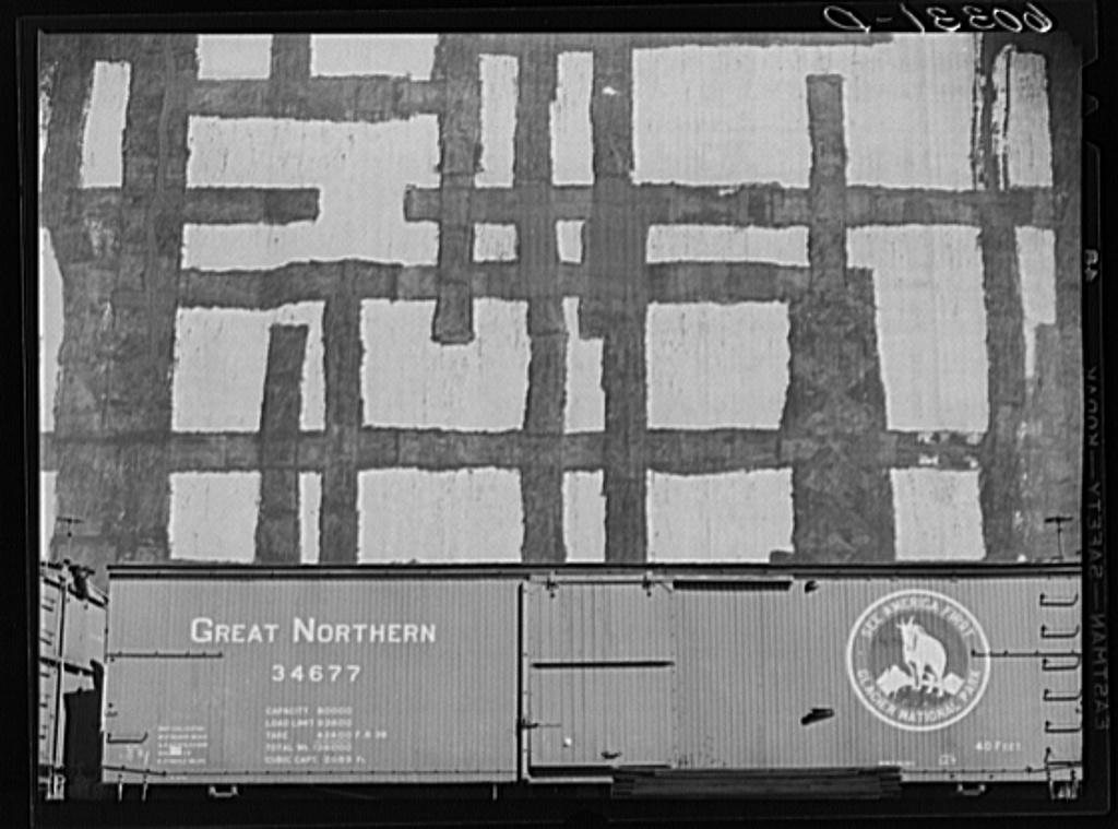 Grain elevator with tar patches. Minneapolis, Minnesota
