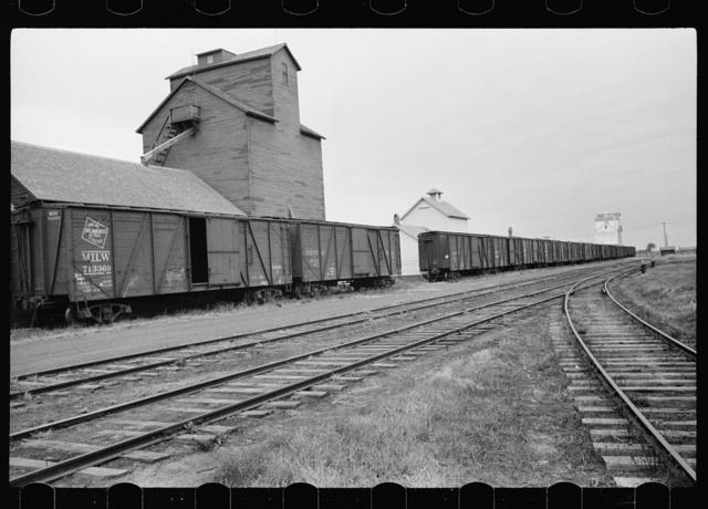Grain elevators along railroad tracks, Sisseton, South Dakota