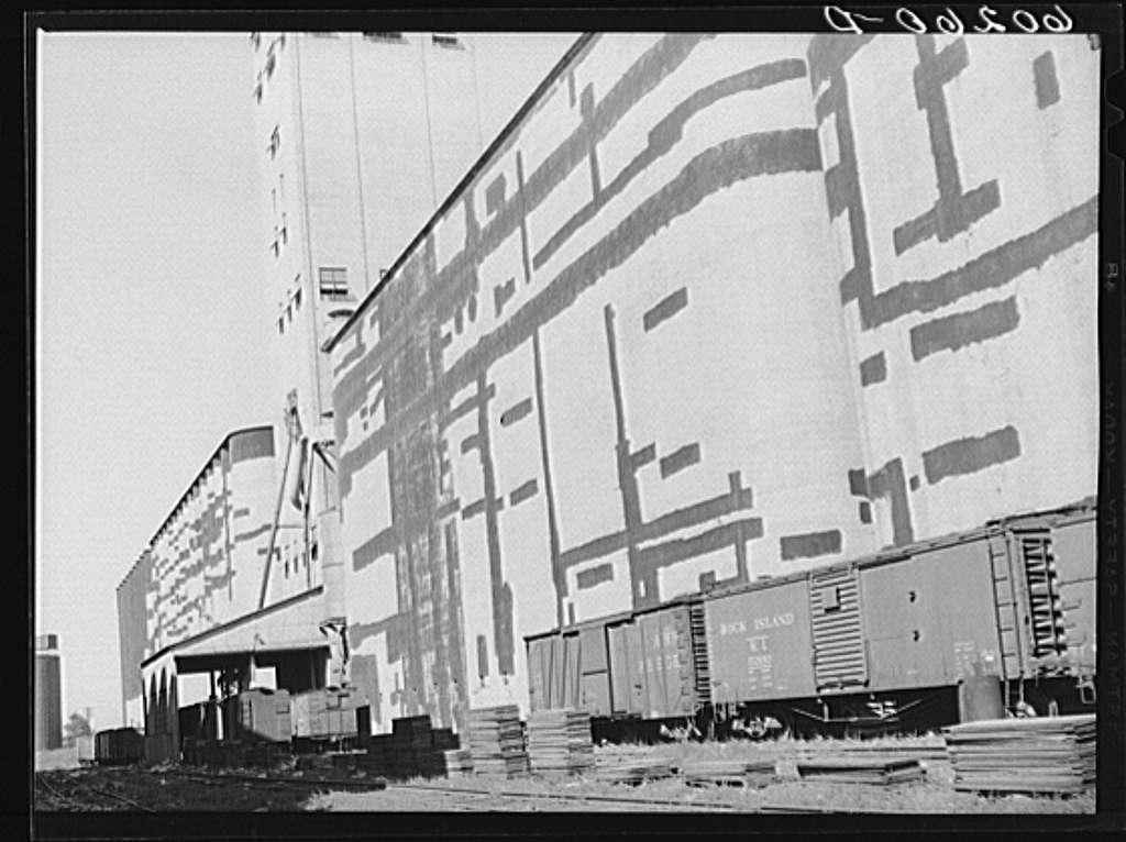 Grain elevators with tar patches. Minneapolis, Minnesota