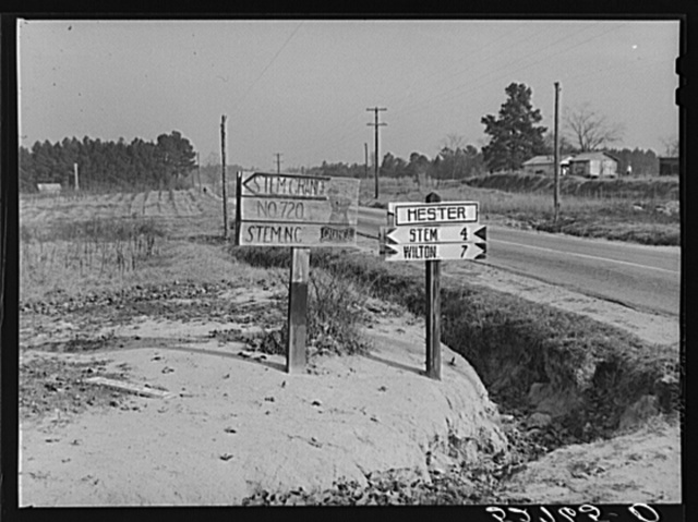 Hand-painted sign pointing to Stem Grange, west side of Highway No. 15 at Hester, Granville County, North Carolina. See subregional notes (Odum) November 16, 1939