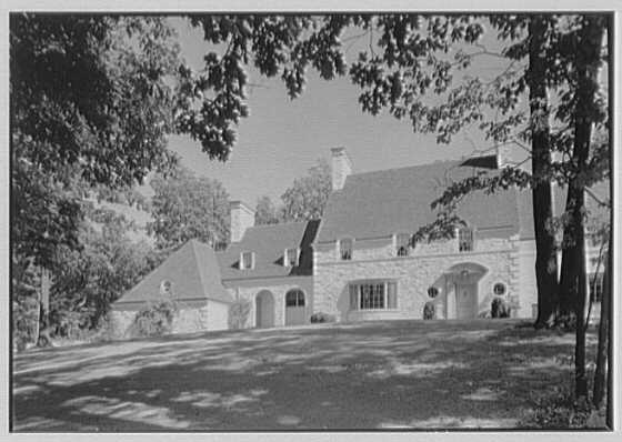 Harold F. Reindahl, residence on Forest Rd., Essex Fells, New Jersey. Entrance facade, left section