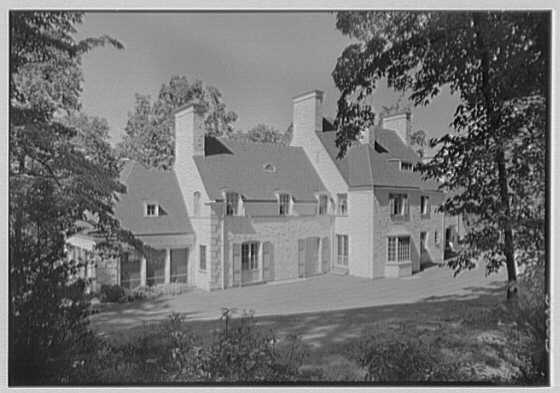 Harold F. Reindahl, residence on Forest Rd., Essex Fells, New Jersey. Rear facade