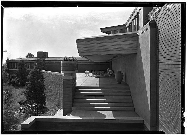 Herbert F. Johnson, Jr., Wingspread, residence in Racine, Wisconsin. Angle view of terrace