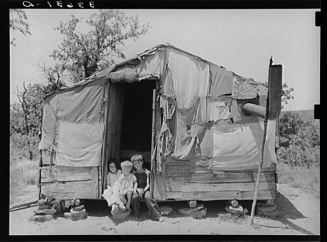 Home of agricultural day laborer. Mother works in fields. Father has deserted the family. Near Vian, Oklahoma