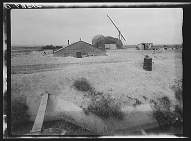 Home of family from Oklahoma now living at Dead Ox Flat, Malheur County, Oregon. Note irrigation ditch. They haul their drinking water from town