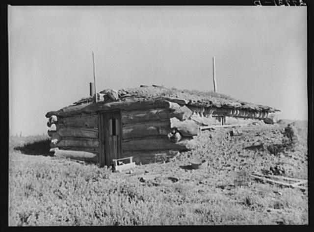 Homesteader's abandoned dugout. Custer County, Montana