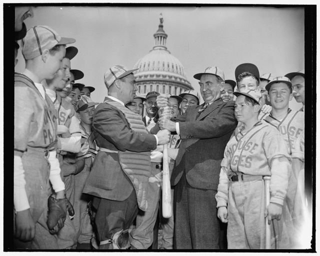 [House Speaker William B. Bankhead and baseball players in front of Capitol]