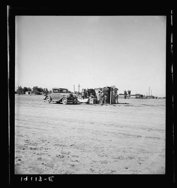 Housing of migratory field workers (Mexican) across road from Farm Security Administration camp (FSA). Near Calipatria, Imperial Valley, California