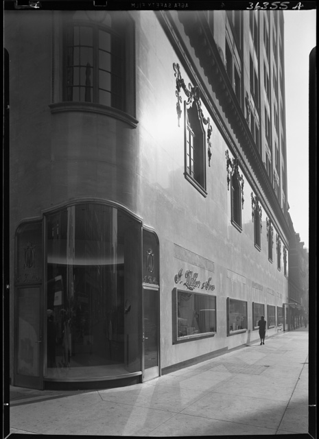 I. Miller shoe store, business at 5th Ave and 54th St., New York City. Side street view