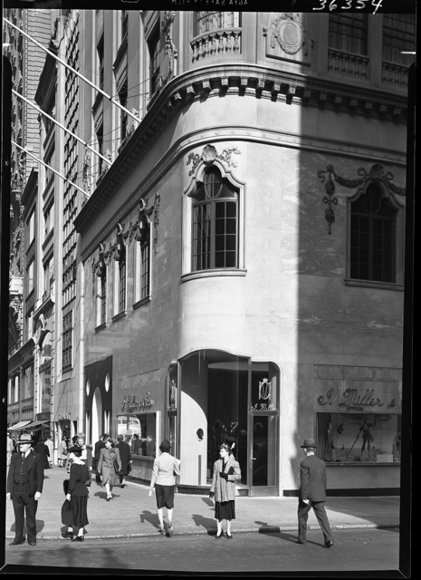 I. Miller shoe store, business at 5th Ave and 54th St., New York City. View on 5th Ave.