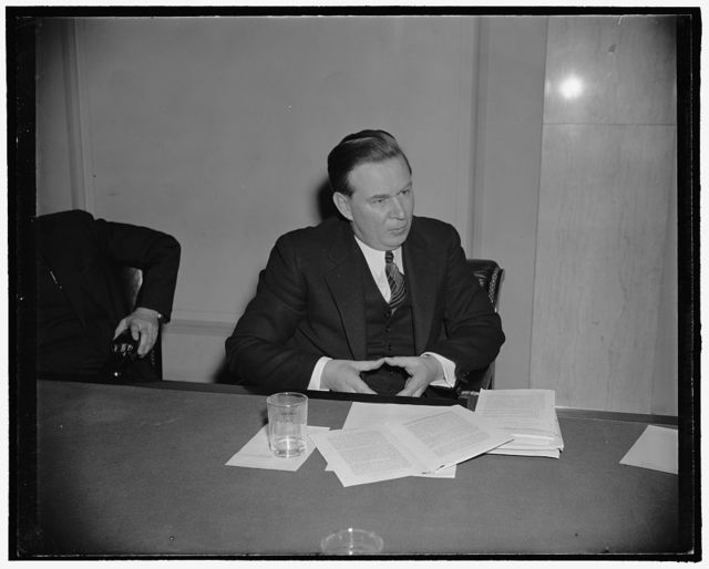 ICC nominee Amlie denies extremist leanings. Washington, D.C., Feb. 6. Former Rep. Thomas R. Amlie, appearing before a Senate Committee investigation his fitness for the office of membership in the ICC upon the Presidents nomination, denied his belief in any dictatorship, 'whether it leans to the right or left'. Regarding communism, 'I have strongly opposed communist aims and program,' 2-6-39