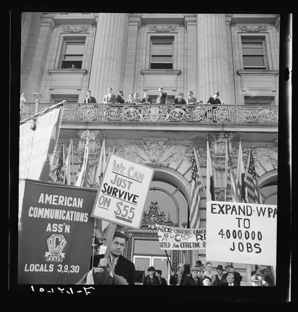 In front of city hall, San Francisco, California. The Worker's Alliance, Works Progress Administration (WPA) organize simultaneous demonstrations in the large cities of the nation cut in the relief appropriation by the United States Congress
