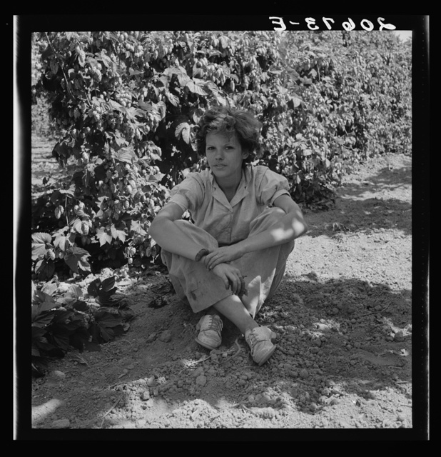 Independence (vicinity), Polk County, Oregon. Wife of an ex-logger, now a migratory field worker, resting in the shade of the hop vine at noon. General caption 45-1