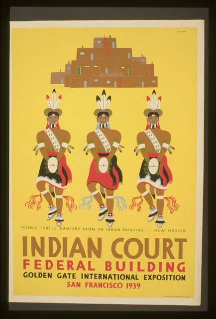 Indian court, Federal Building, Golden Gate International Exposition, San Francisco, 1939 Pueblo turtle dancers from an Indian painting, New Mexico / / Siegriest.