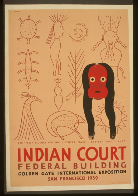 Indian court, Federal Building, Golden Gate International Exposition, San Francisco, 1939 Chippewa picture writing, Seneca mask, Eastern woodlands / / Siegriest.