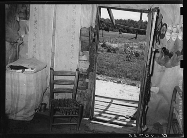 Interior of Negro agricultural day laborer's home near Vian, Oklahoma. Sequoyah County