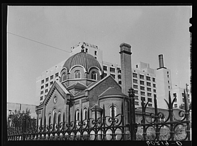 Iron fence, Greek Orthodox Church, Sears Roebuck Company. Minneapolis, Minnesota