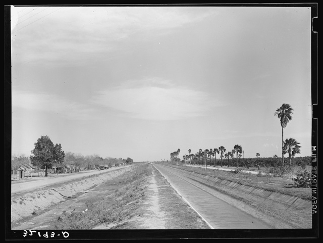 Irrigation ditch. Irrigated land on right, Mexican housing on left. San Juan, Texas