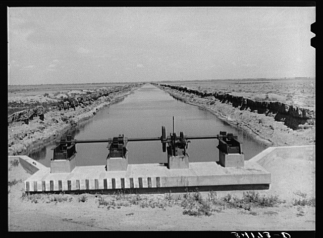 Irrigation gate and canal near Ordway, Colorado