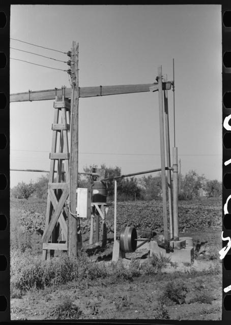 Irrigation well machinery on truck farm, Tom Green County, near San Angelo, Texas
