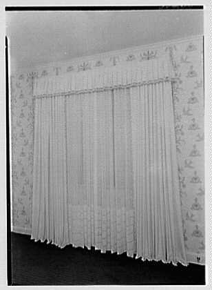 Ivory washable house, PEDAC, International Building, New York City. Curtain detail