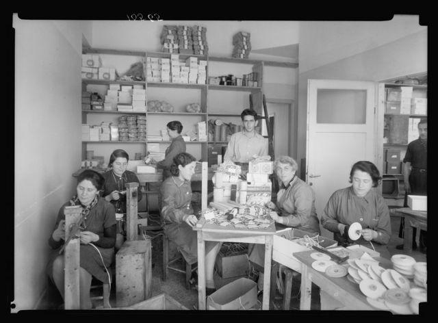 Jewish factories in Palestine on Plain of Sharon & along the coast to Haifa. Nachlat Izhak. Elastic & ribbon factory. Packing of finished goods