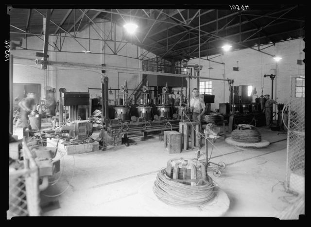 """Jewish factories in Palestine on Plain of Sharon & along the coast to Haifa. Petah-Tikvah. Wire drawing & nail factory. """"Barzelit,"""" Ltd. The process of drawing wire"""