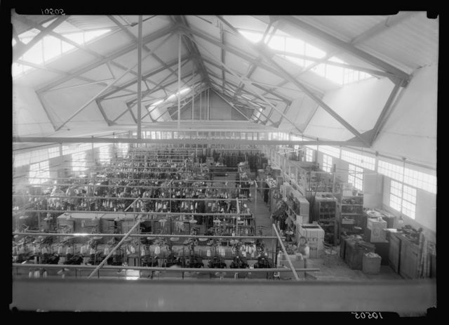Jewish factories in Palestine on Plain of Sharon & along the coast to Haifa. The Lodzia Textile Co. in Holon settlement (meaning sandy). Sock & stocking knitting dept.