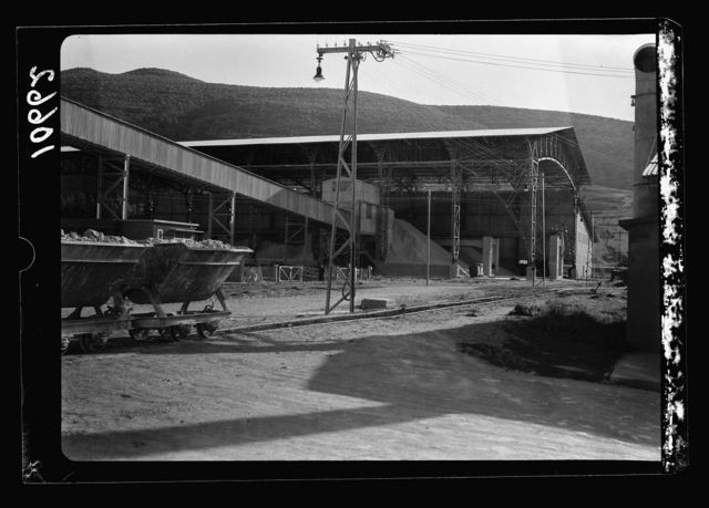 "Jewish factories in Palestine on Plain of Sharon & along the coast to Haifa. Haifa. The ""Nesher"" cement works. Component raw materials brought into works"