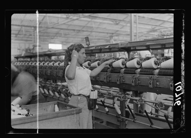 "Jewish factories in Palestine on Plain of Sharon & along the coast to Haifa. Near Acre, Kfar-Ata. The ""Ata"" Textile Co. Fourth process in the spinning of the yarn"