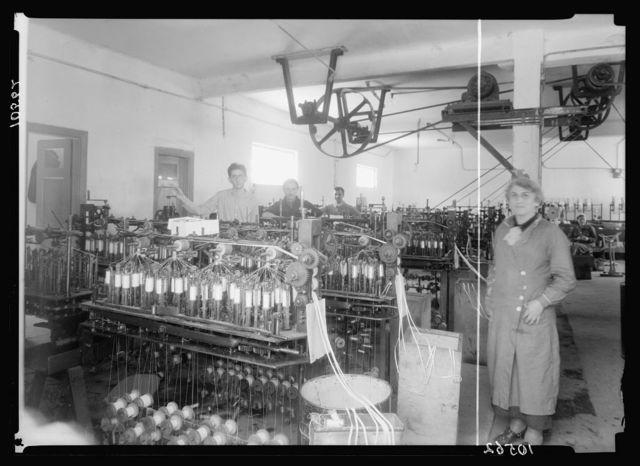 Jewish factories in Palestine on Plain of Sharon & along the coast to Haifa. Nachlat Izhak. Elastic & ribbon factory, int[erior]