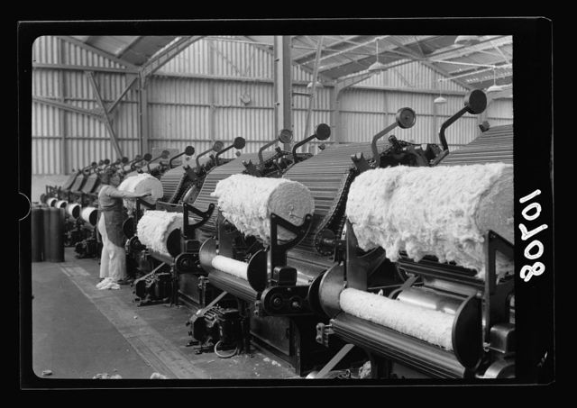"Jewish factories in Palestine on Plain of Sharon & along the coast to Haifa. Near Acre, Kfar-Ata. The ""Ata"" Textile Co. The Wadding plant, close up of machines"