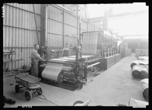 "Jewish factories in Palestine on Plain of Sharon & along the coast to Haifa. Acre. Kafar-Ata. The ""Ata"" Textile Co. Gluing the warp"